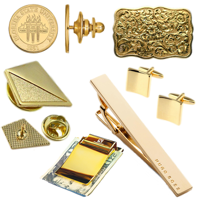 We buy gold accessories, money clips, tie clips, cuff links, belt buckles, pins and more!