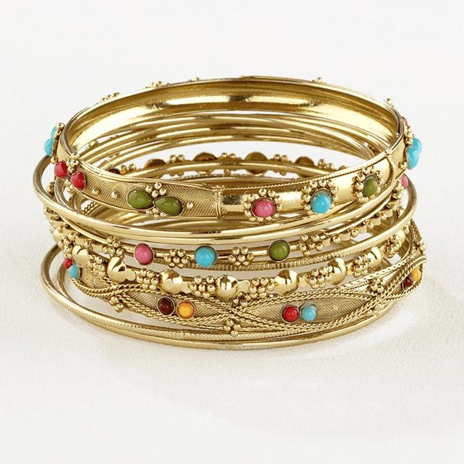 Gold Jeweled Fashion Bracelets