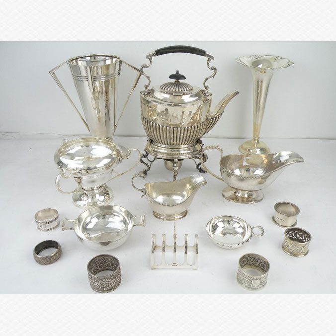Various Silver Items Tea Kettles Silver Cutlery