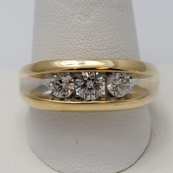 Gold Mens Wedding Band With Diamonds