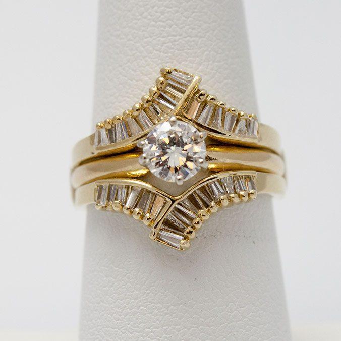Yellow Gold Wedding Set, Diamond Wedding Set